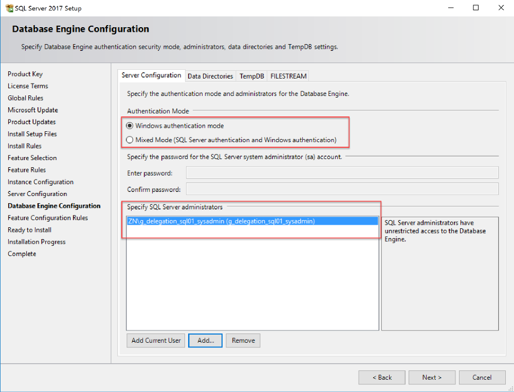 Server configuration tab