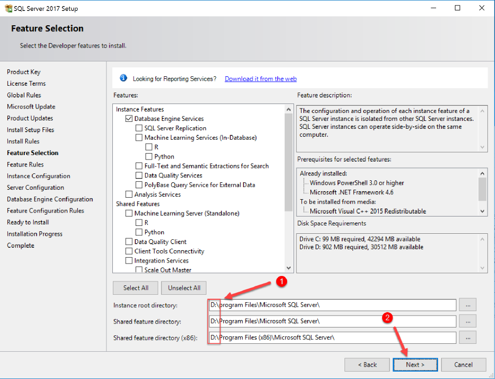 install sql features