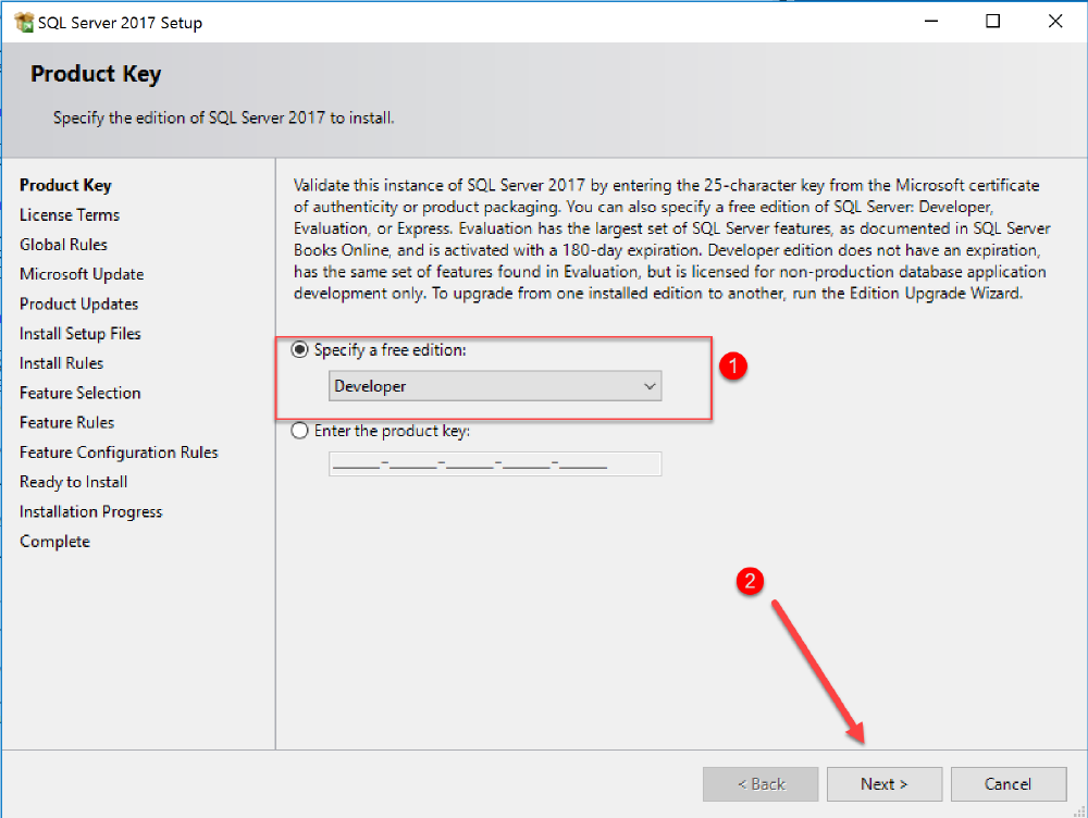 select sql edition to install