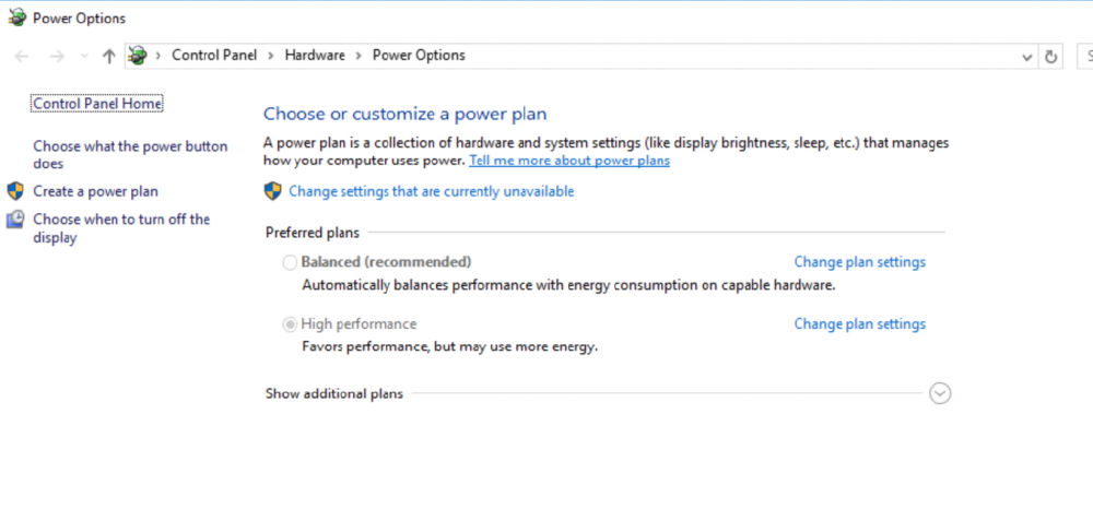 power mode settings